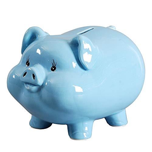 PIG WORLD Ceramics Pig Piggy Bank for Boys and Girls Girls Adult Gift Savings Money Kids Décor Keepsake (Blue)