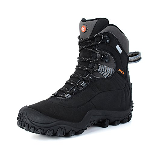 Manfen Women's Mid High-top Hiking Boots Lightweight Waterproof Hunting Boots, Ankle Support, High-Traction Grip Black 7