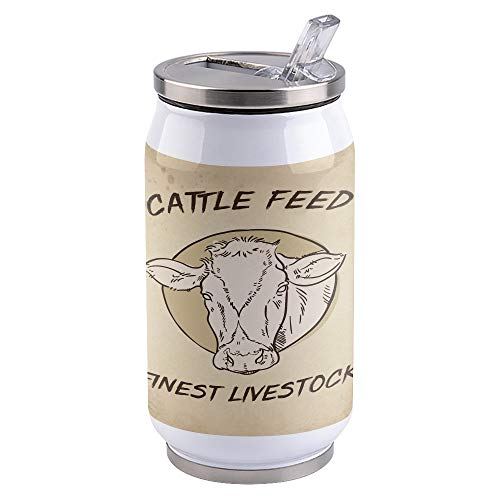 Stainless Steel Rustic Farmhouse Tumbler with Spill-Proof Lid and Straw | Insulated Travel Tumbler with No-Spill Straw, Water Drink Mug 300 ml Cattle Feed Finest Livestock