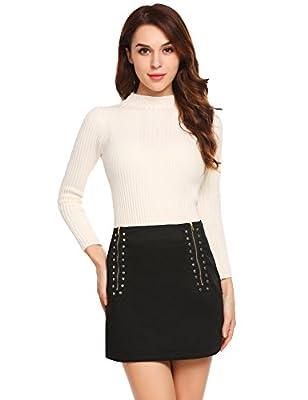 Zeagoo Women Mini Skirt Asymmetric Tight Bodycon Stretch Party Mini Skirt