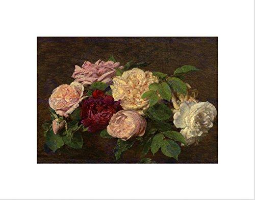 HENRI FANTIN LATOUR FRENCH ROSES NICE TABLE BLACK FRAMED ART PRINT B12X5262