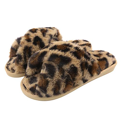Knemksplanet Fuzzy Slippers for Women, Cross Band Faux Furry Slippers Warm Slide Flat House Slippers Sandals Leopard Plush Open Toe Home Slippers