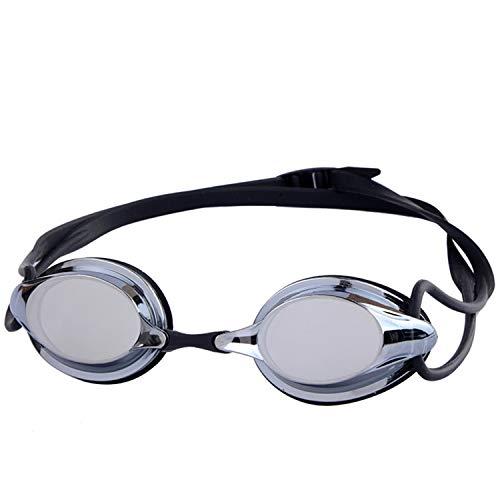 Gafas de natación profesionales sin fugas, lentes de triatlón de natación, adecuadas para hombres y mujeres adultos, lentes antivaho juveniles UV, marcos de silicona suave y gafas de natación, Negro