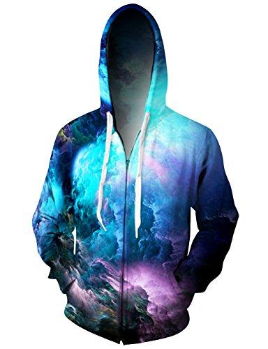 Uideazone All Over Print Galaxy Nebula Cluster Zip Up Hooded Jacket Cool Hoodie Sweatshirts Coat for Juniors Boys Girls,Galaxy2,Medium
