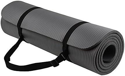 Alfombra para ejercicio yoga mat con correa de transporte BalanceFrom goyoga, multi uso, 1/2pulgadas extra grueso de alta densidad anticorte , talla única