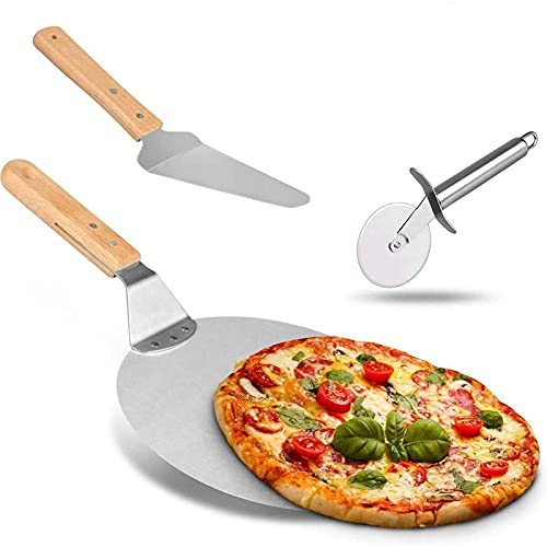 SOOTOP Juego de piedra para hornear pizza de 40,6 x 25,4 cm para horno y barbacoa, 3 piezas, Large