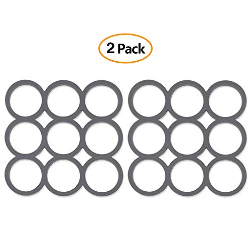 Silicone Pot Holder Trivet Mat Heat Resistant Hot Pads Set for Hot Dishes and Table, Multi-Purpose Kitchen Potholders for Jar Opener, Spoon Holder, Oven Mitts - Set of 2 - Square Pattern
