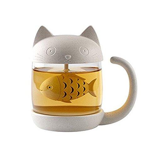 OFKPO 250ML Glas Tee Mug,Niedlich Katzen Wasser Mug mit Sieb Filter,Weihnachten/Geburtstag Geschenk