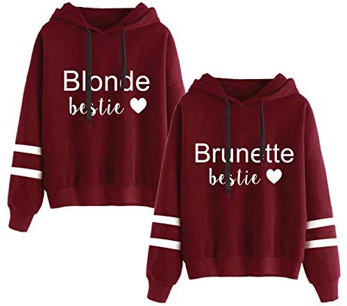 Best Friends Pullover für Zwei Mädchen BFF Hoodie Sister Pullover Beste Freunde Kapuzenpullover Damen Freundin Pulli 2 Stücke(Weinrot,Blonde-S+Brunette-S)