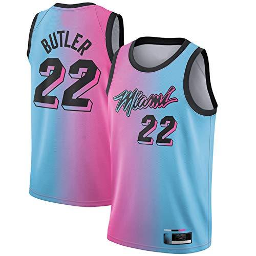 LMSNB Al aire libre Jimmy Basketball Jersey Butler #22 Miami Away Jersey Heat 2020/21 Nueva Temporada Sin Mangas Chaleco Bordado Swingman Jersey Rosa/Azul