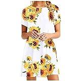 VEMOW Vestido Mujer Mujeres Verano Manga Corta Floral Bolsillos Impresos Vestido de oscilación Ocasional de Sundress(H Naranja,S)