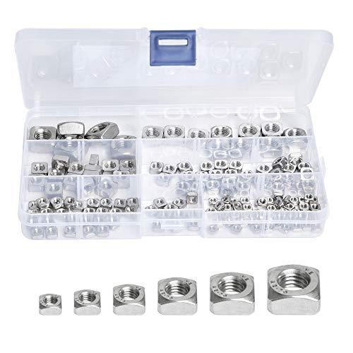 Milkary 150Pcs 304 Stainless Steel Metric Square Nuts Assortment Kit, Machine Screw Nuts Metric Coarse Thread 6 Sizes - M3 M4 M5 M6 M8 M10