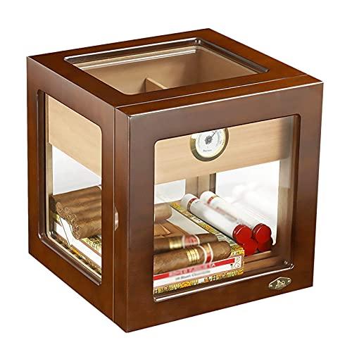 N\C Aufsatz-Zigarren-Humidor-Schrank, klassischer Holz-Aufbewahrungsbehälter mit Trennwand, Hygrometer und Verstellbarer Zigarrenablage LKWK