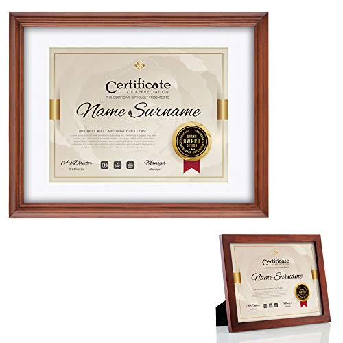 RPJC 2 pcs Sets Solid Wood Document Frames Display Certificate 8.5x11 inch Brown and 11x14 inch Mat 8.5x11 inch Brown