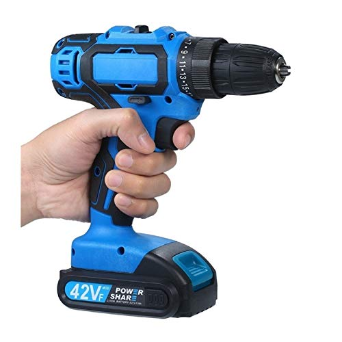 2-Speed Cordless Drill Driver Li-ion Battery Fast Charger 25+1 Clutch Max 35Nm Torque Variable Speed with LED Light Drilling for Walls Bricks Wood Metal
