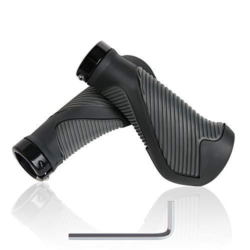PUPOUSE Fahrradgriffe Ergonomisch- Lock On Griffe Wasserbeständiger und Rutschfester Sportliche Lenkergriffe für die Meisten Fahrrad Modelle, Perfekte Griffsicherheit(Grau & Schwarz)