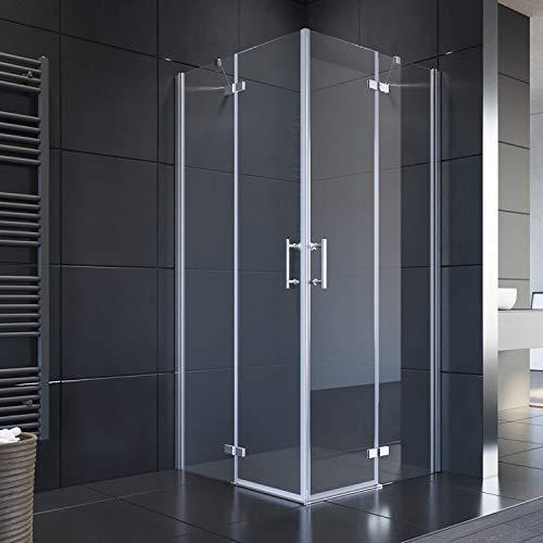 SONNI Duschkabine 90x90 cm Eckeinstieg 195cm Höhe mit Pendeltüren aus 6 mm ESG-Glas Duschkabine Scharniertür Duschabtrennung Eckeinstieg