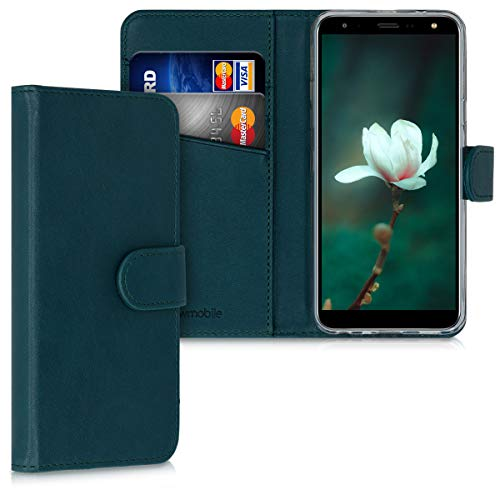 kwmobile Wallet Hülle kompatibel mit LG K40 - Hülle Kunstleder mit Kartenfächern Stand in Petrol