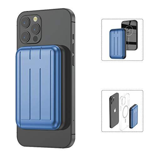 モバイルバッテリー 【最新】MagSafe対応 iPhone12/Pro/Pro Max/mini ワイヤレス充電 軽量 小型 磁気式 コンパクト 携帯バッテリー 5000mAh 大容量 15W充電 急速充電対応 マグネット内蔵 (青い)