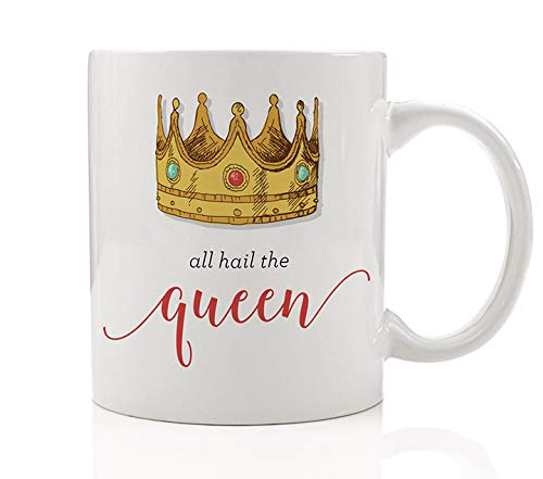 All Hail The Queen Coffee Mug Funny Gift Idea for Mommy Mom Woman Wife Female Lady Boss She Rules Her Kingdom from Children Friend Employee Husband Cute 11oz Ceramic Tea Cup by Digibuddha DM0139_2