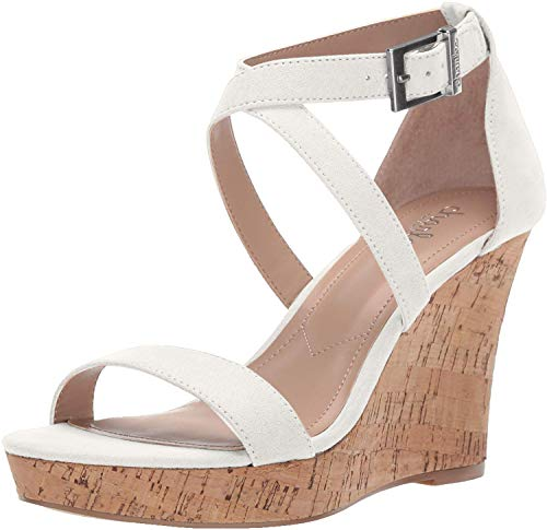 Charles by Charles David Women's Launch Wedge Sandal, White, 10 M US