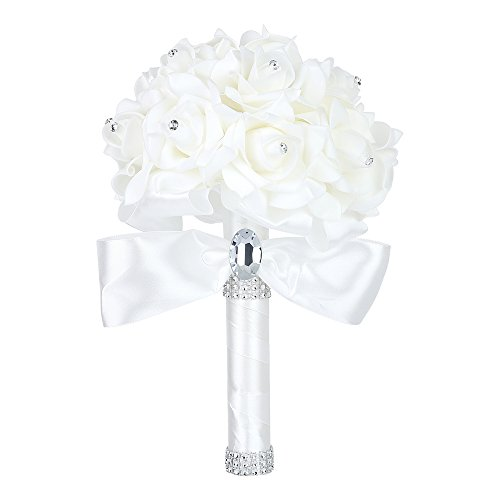 Febou Wedding Bouquet Crystal Roses Bridesmaid Bouquet, Bridal Bouquet Artificial Flowers for Wedding, Party and Church (Ivory-Small Size)