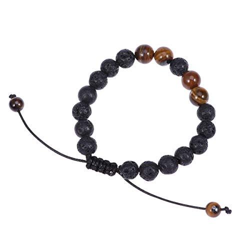 Healifty pulsera de piedra volc¨¢nica 8mm pulsera de piedra volc¨¢nica Tiger Eye Agate Onyx pulsera ajustable fuerte pulsera el¨¢stica de yoga para hombres mujeres regalos