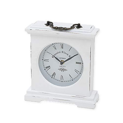 BigDean Tischuhr weiß 23 cm Kaminuhr Landhaus Uhr