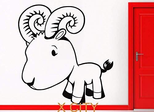 Adorable Cabra De Dibujos Animados Arte De La Pared Pegatina Calcomanía Extraíble Corte De Vinilo Diy Home Nursery Decor Mural Niños Bedr58X61Cm