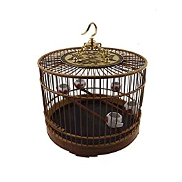 DHTOMC Birdcage Featured Bamboo Material Birdcage With Hook Indoor and Outdoor Bird Villa Chinese Style Vintage Bird Cage Aviary Xping
