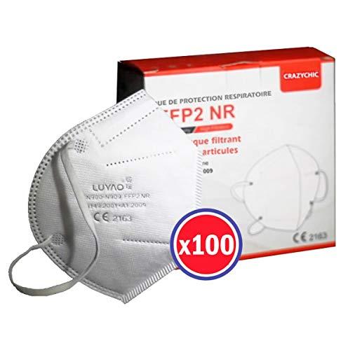 CRAZYCHIC - Mascarilla FFP2 Certificada CE EN149 - Mascarilla de Protección Respiratoria - Protectora Respirador Antipolvo Homologada - Alta filtración - Entrega Rápida - Paquete de 100 Piezas