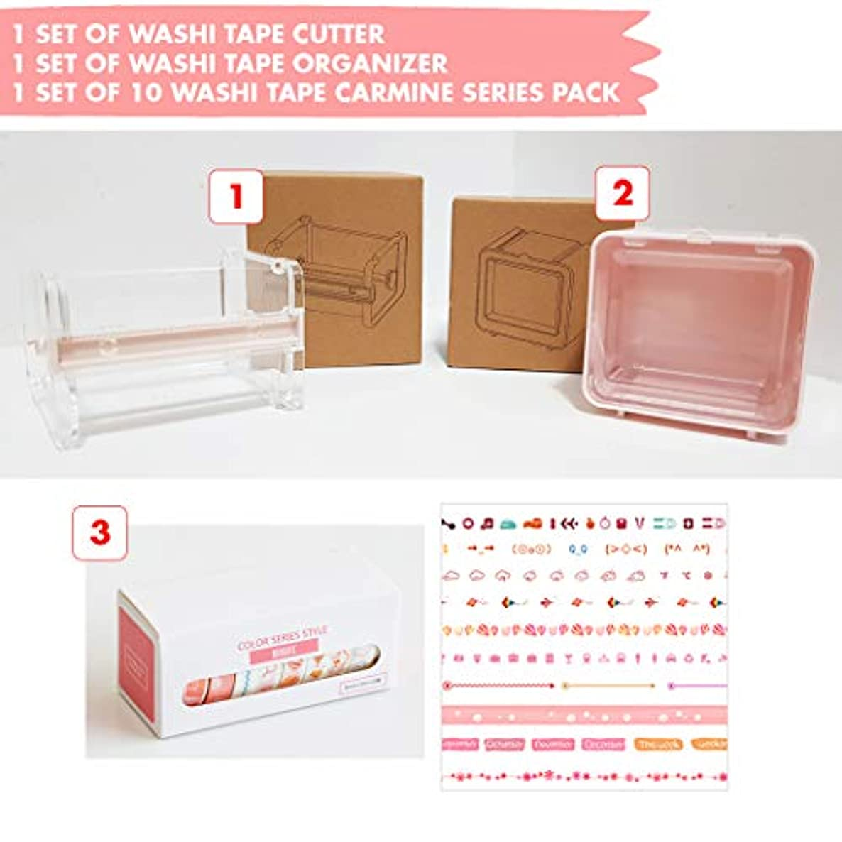 Clear Acrylic Craft Dispenser and Washi Tape Storage Case with 10 pcs Decorative Washi Tape Series for Office, School and Home Usage. Great for Planners, Arts, Crafts (Carmine Red)
