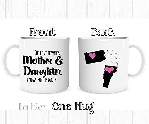 Personalized The Love Between a Mother and Daughter Knows No Distance Mug, All States and Countries