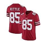 Maillot de football américain maillot de rugby George Kittle, combinaison d'entraînement de jeu 49ers San Francisco # 85 broderie hommes et femmes vêtements d'entraînement sportif-red-M(175cm/65~7