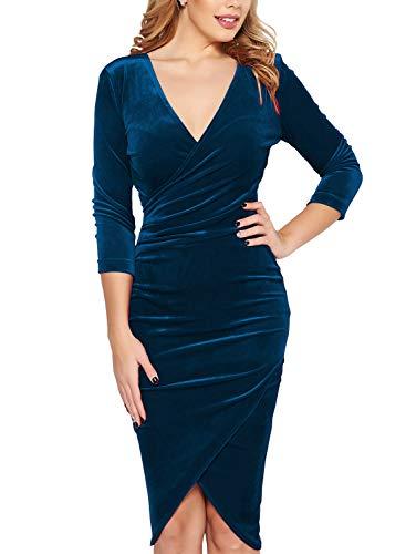 Fantaist Pencil Dresses, Women's Deep V Neck Wrap Ruched Velvet Evening Cocktail Dress (XL, FT641-Dark Cyan)