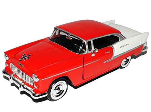 Motormax Chevrolet Chevy Bel Air 2400C Coupe Rot mit Weiß 1. Generation 1953-1957 Oldtimer 1/24 Modell Auto mit individiuellem Wunschkennzeichen