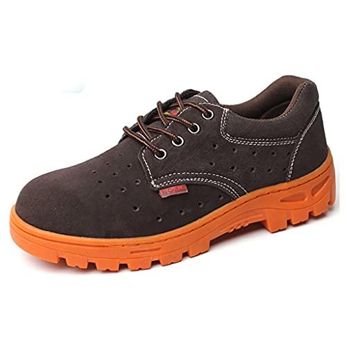 Zapatos de trabajo Soldadores de cuero de gamuza Soldar botas de seguridad con diseño de cubierta protectora, tapa de punta de acero y zapatos de trabajo de metal medio de acero, hombres mujeres zapat
