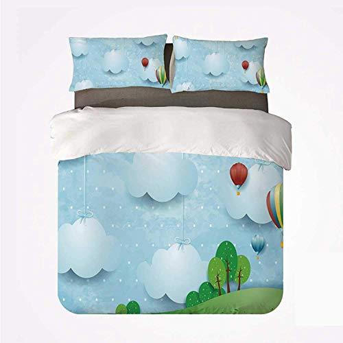 Zozun Duvet Cover Set Kids Decor Practical 3 Bedding Set,Boys Girls Nursery Room Decor with Balloons Clouds Stars on The Hillls Cartoon for Dormify