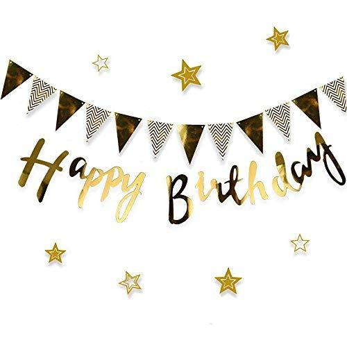 Heatigo Happy Birthday Girlande Deko Set, Banner zum Aufhängen Wimpelkette Geburtstagsdekoration für Partybedarf, Hochzeit, Babydusche und Veranstaltungszubehör