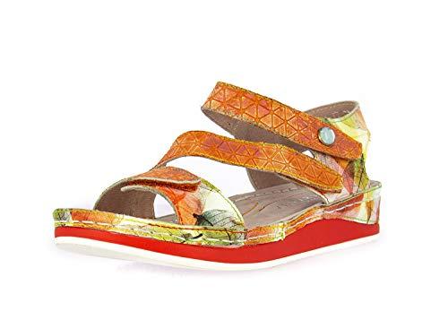 Laura Vita SL150420-43B Brcuelo 43 Sandalias Fashion de Cuero Mujer, schuhgröße_1:37, Farbe:Naranja