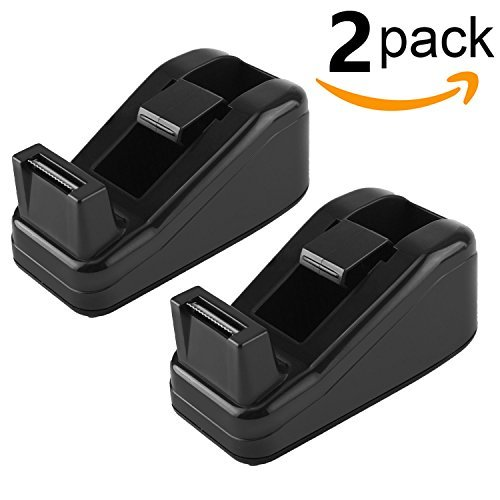 Ktrio Mini Desktop Tape Dispenser Desk Tape Dispensers for 1/2 or 3/4 Inch Magic Tape Invisible Tape with 1 Inch Core, Non-Slip Tape Holder 4.0x2.2x1.7 Inch 2 Pack Black