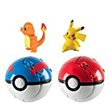 Throw N Pop Poke Ball and Figure, Poké Battle Action Figures, Pokballs Action Figures Game Action Figure for Children's Toy Set Birthday Party Toy Gift Idea 2 PCS