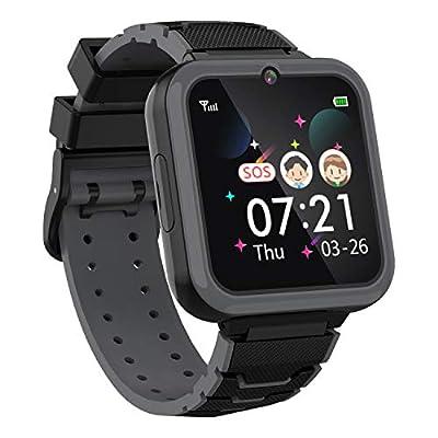 Boys Girls Kids Music Game Smart Watch , HD Touch Screen Wrist Smartwatch , Alarm Calculator MP3 Music Player Games Call SOS Camera Flashlight Smart Watch , Children Toy Birthday Gift(Black)