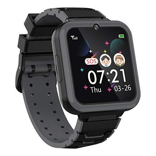 Smartwatch per Bambini per Ragazzi - 1,54   Touchscreen HD con Due Modi di Chiamata SOS Giochi con Torcia Lettore Musicale Sveglia per Fotocamera Studenti Regalo di Compleanno per Bambini (NERO)