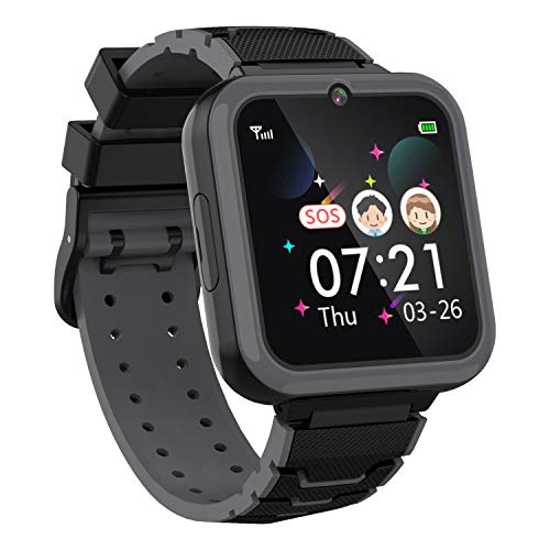 Boys Girls Kids Music Game Smart Watch , HD Touch Screen Wrist Smartwatch , Alarm Calculator MP3 Music Player Games Call SOS Camera Flashlight Smart Watch , Children Toy Birthday Gift(Black)