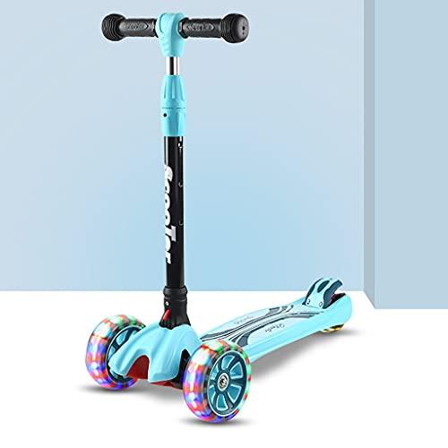 Patinete freestyle 3 ruedas para niños scooter, patear scooter para niños scooters con manillar ajustable, scooter con scooter de cubierta extra ancho para grandes ruedas LED, scooter para niños peque