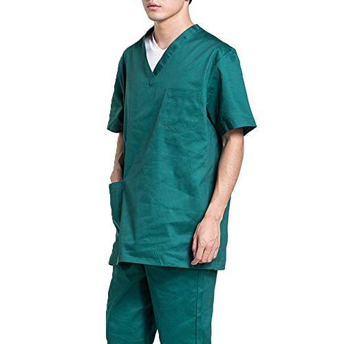 Manteau médical Hôpital Uniforme Hommes/Femmes Vêtements de soins médicaux Frotter les vêtements Col en v Blouse de laboratoire dentaire Costume de chirurgie mince Vêtements médicaux,Vert,XL