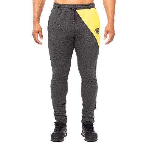 SMILODOX Slim Fit Herren Jogginghose | Trainingshose für Sport Fitness Gym Training & Freizeit | Sporthose - Jogger Pants - Sweatpants Hosen - Freizeithose Lang, Farbe:Anthrazit/Gelb, Größe:M