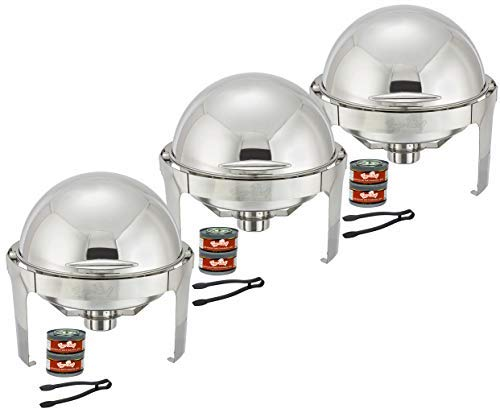 Tiger Chef Chafing Dish Buffet Set - 6 Quart Food Warmer Stainless Steel - Round Roll Top Chafer - 3 Chafing Dish Sets with 3 Serving Tongs and 6 Chafing Dish Fuel Gels
