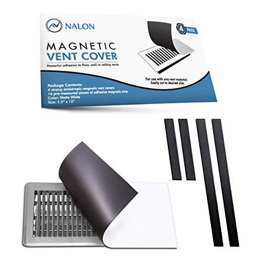 Nalon Strong Seal Magnetic Vent Cover (4-Pack) 5.5'x12' Plus Optional Magnetic Strips - Use On Any Air Vent Register Cover - Works Perfect As Floor, Wall, or Ceiling Vent Covers for Home/RV